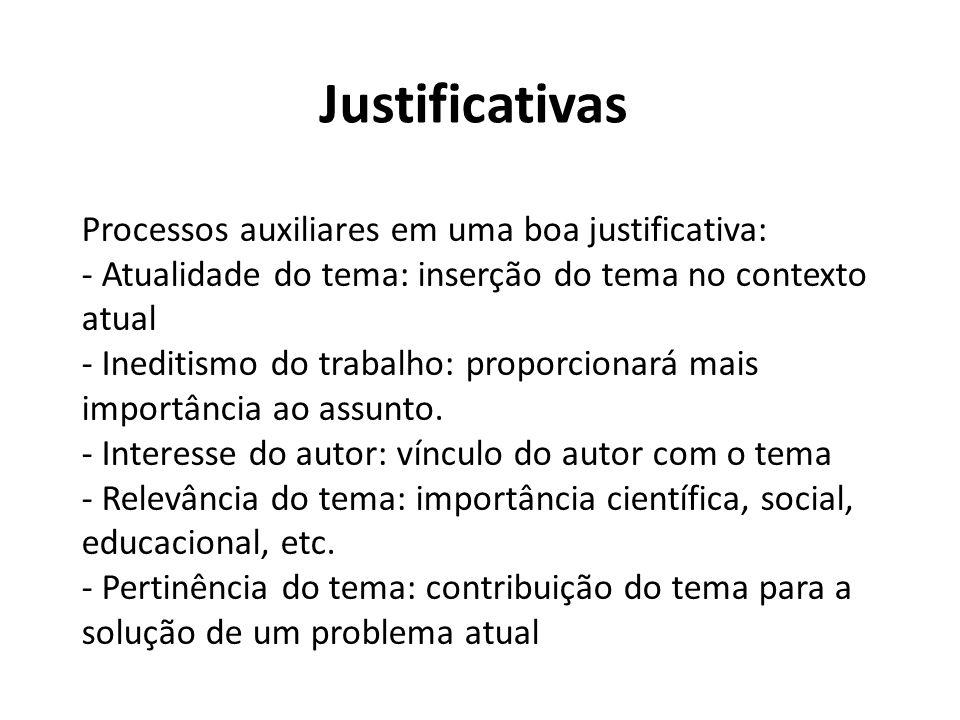 Justificativas Processos auxiliares em uma boa justificativa: - Atualidade do tema: inserção do tema no contexto atual - Ineditismo do trabalho: propo