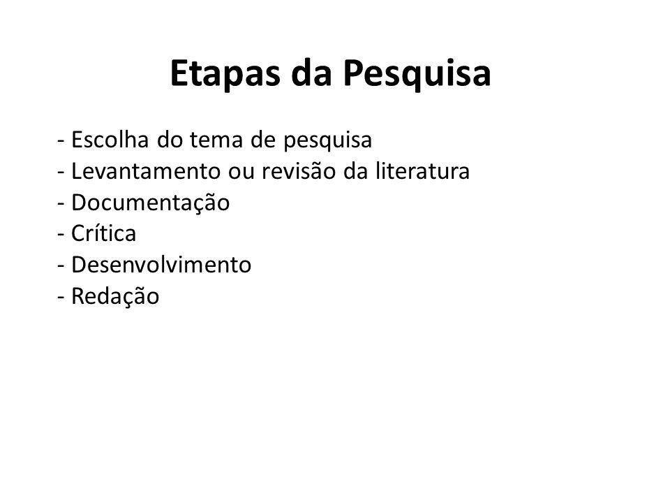 Etapas da Pesquisa - Escolha do tema de pesquisa - Levantamento ou revisão da literatura - Documentação - Crítica - Desenvolvimento - Redação