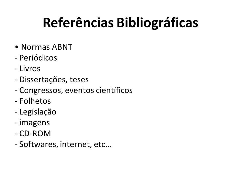 Referências Bibliográficas Normas ABNT - Periódicos - Livros - Dissertações, teses - Congressos, eventos científicos - Folhetos - Legislação - imagens