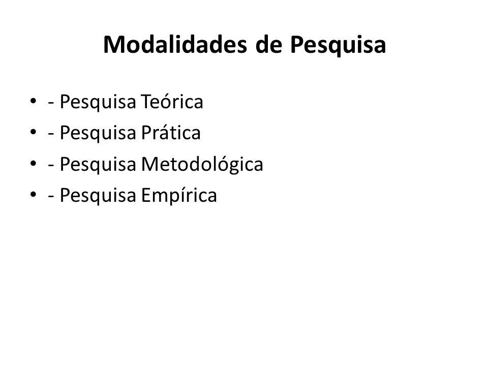 Modalidades de Pesquisa - Pesquisa Teórica - Pesquisa Prática - Pesquisa Metodológica - Pesquisa Empírica