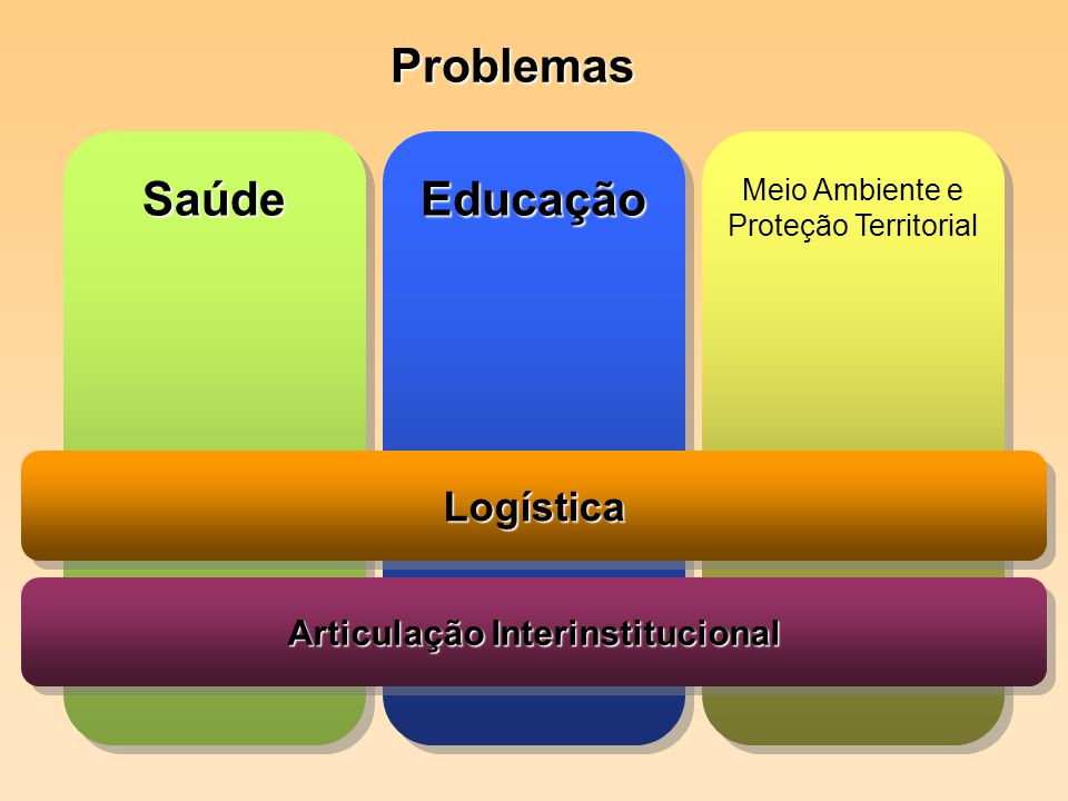 SaúdeSaúde Problemas EducaçãoEducação Meio Ambiente e Proteção Territorial LogísticaLogística Articulação Interinstitucional