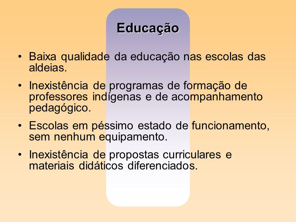 Educação Baixa qualidade da educação nas escolas das aldeias. Inexistência de programas de formação de professores indígenas e de acompanhamento pedag