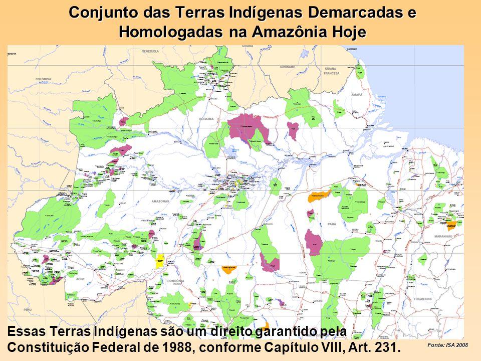 Conjunto das Terras Indígenas Demarcadas e Homologadas na Amazônia Hoje Essas Terras Indígenas são um direito garantido pela Constituição Federal de 1