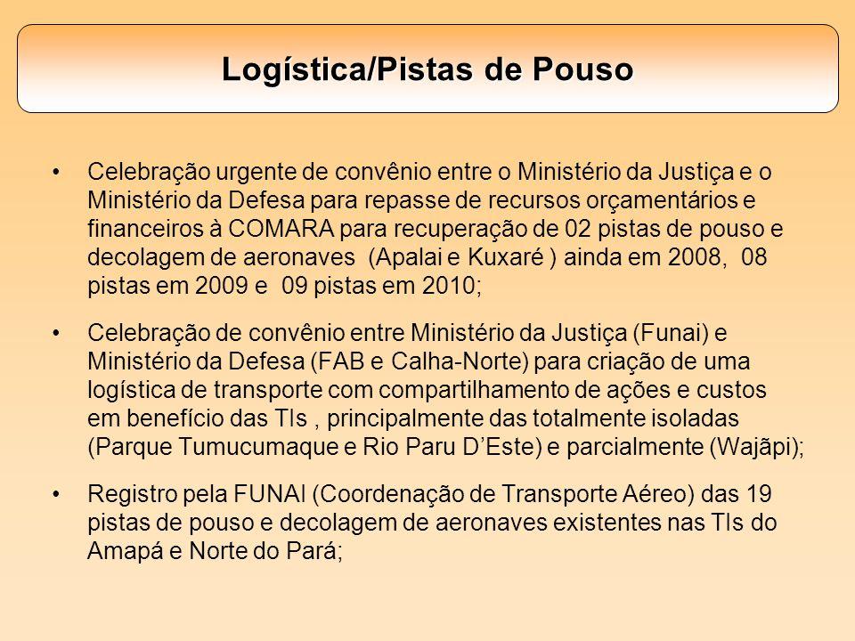 Logística/Pistas de Pouso Celebração urgente de convênio entre o Ministério da Justiça e o Ministério da Defesa para repasse de recursos orçamentários