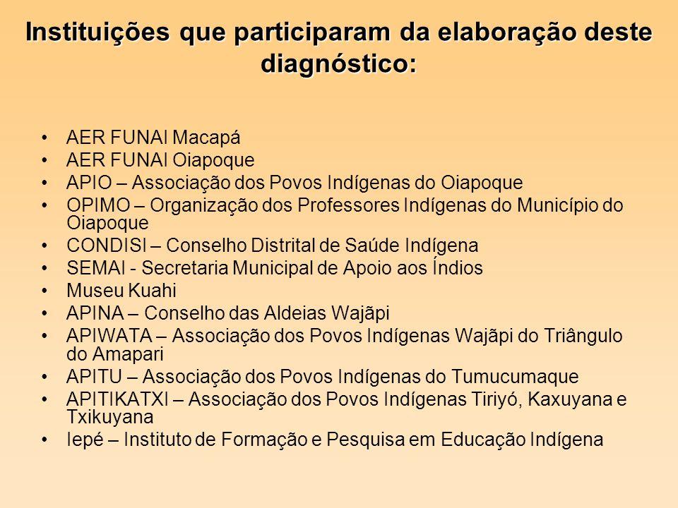 Instituições que participaram da elaboração deste diagnóstico: AER FUNAI Macapá AER FUNAI Oiapoque APIO – Associação dos Povos Indígenas do Oiapoque O