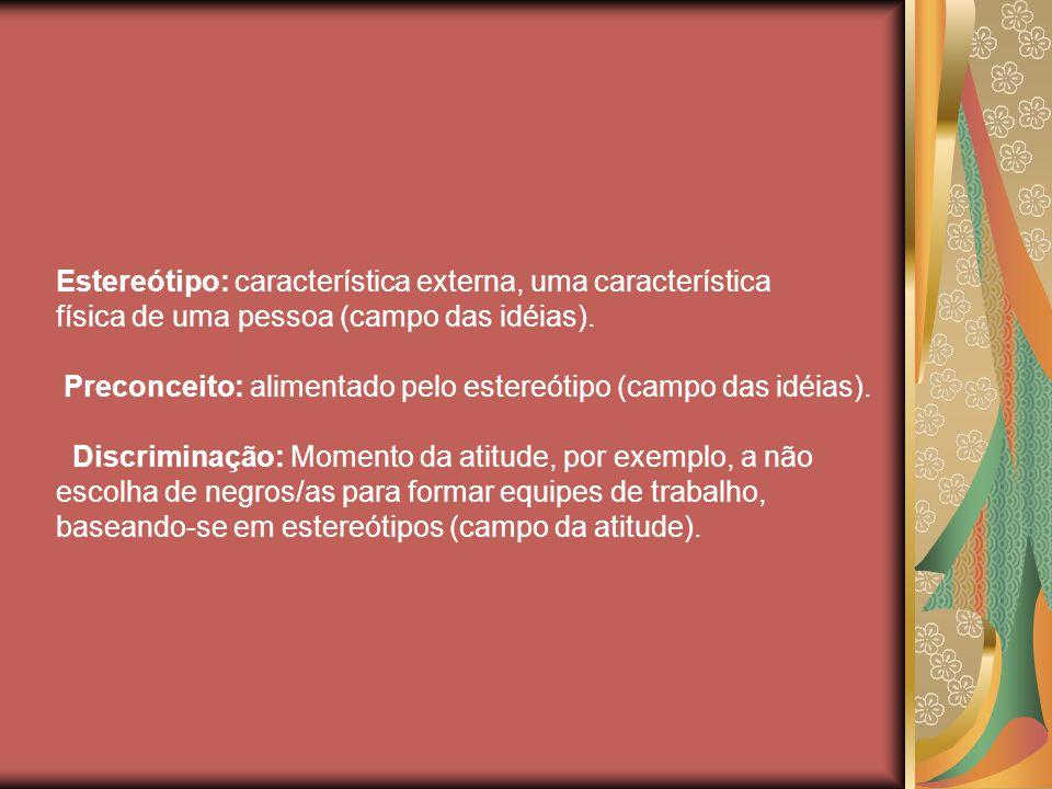 Estereótipo: característica externa, uma característica física de uma pessoa (campo das idéias).
