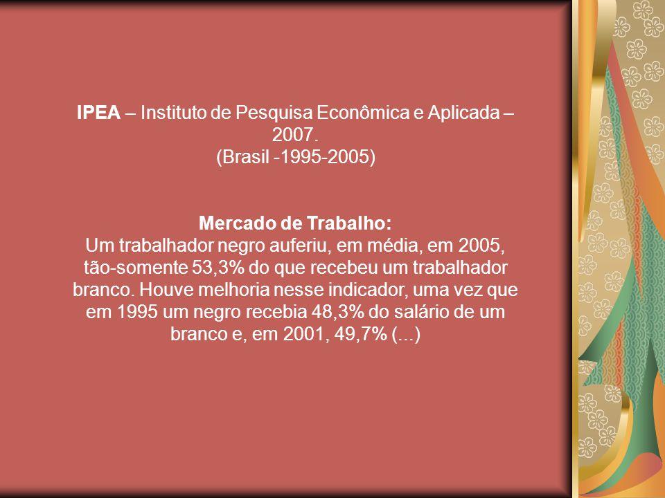IPEA – Instituto de Pesquisa Econômica e Aplicada – 2007.