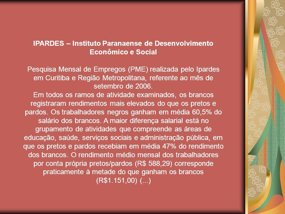 IPARDES – Instituto Paranaense de Desenvolvimento Econômico e Social Pesquisa Mensal de Empregos (PME) realizada pelo Ipardes em Curitiba e Região Metropolitana, referente ao mês de setembro de 2006.