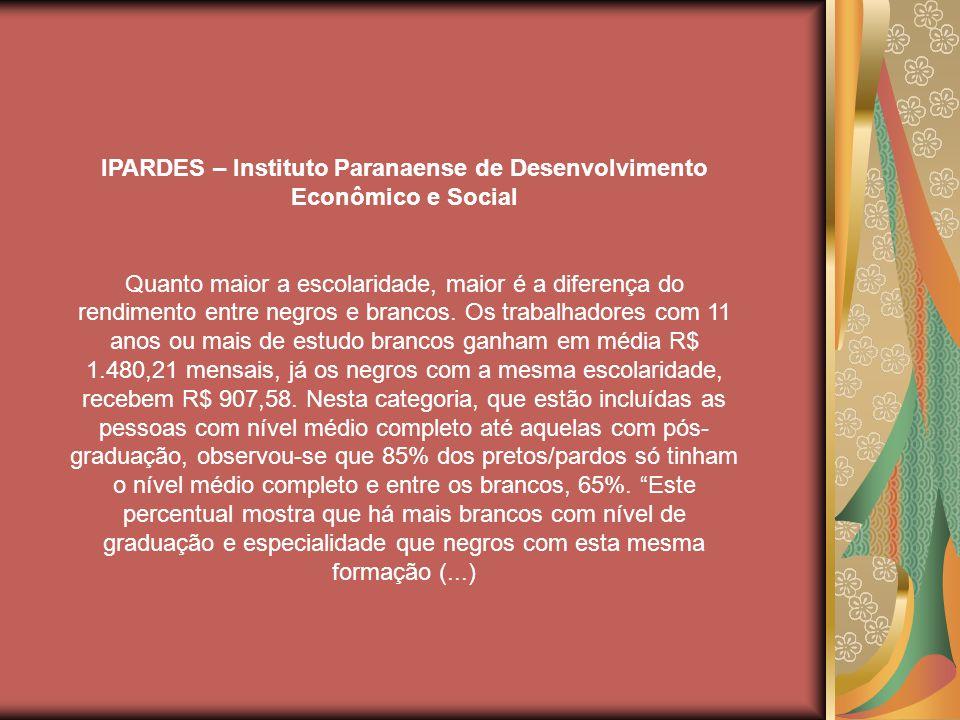 IPARDES – Instituto Paranaense de Desenvolvimento Econômico e Social Quanto maior a escolaridade, maior é a diferença do rendimento entre negros e brancos.