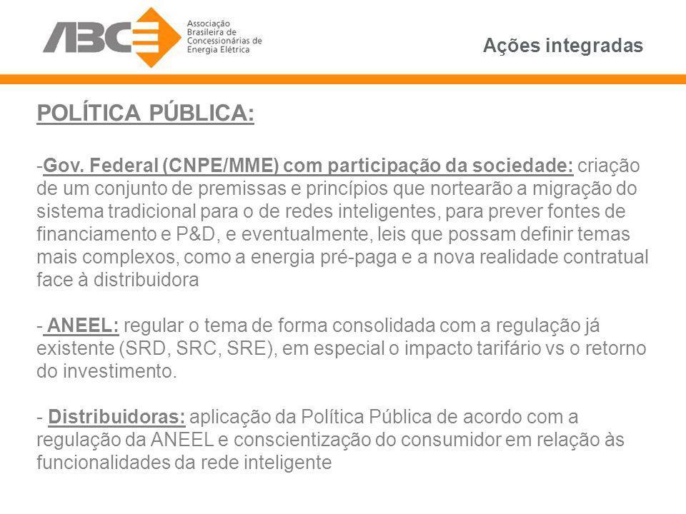 Ações integradas POLÍTICA PÚBLICA: -Gov. Federal (CNPE/MME) com participação da sociedade: criação de um conjunto de premissas e princípios que nortea