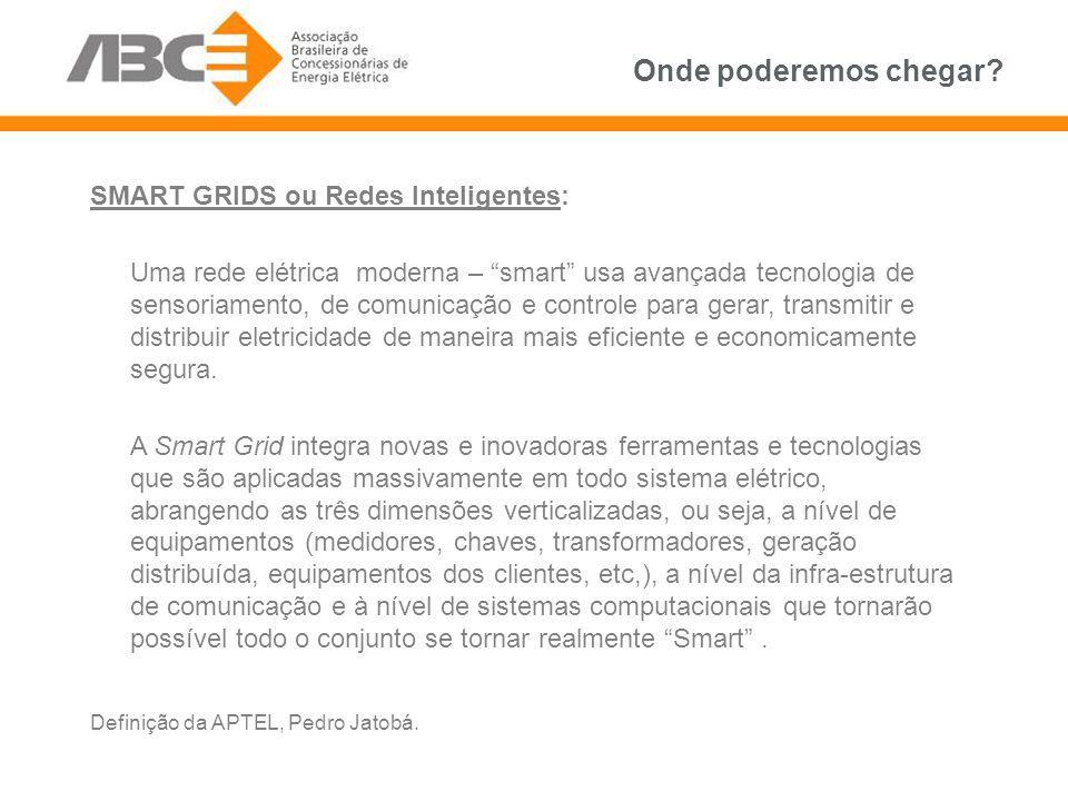 SMART GRIDS ou Redes Inteligentes: Uma rede elétrica moderna – smart usa avançada tecnologia de sensoriamento, de comunicação e controle para gerar, t