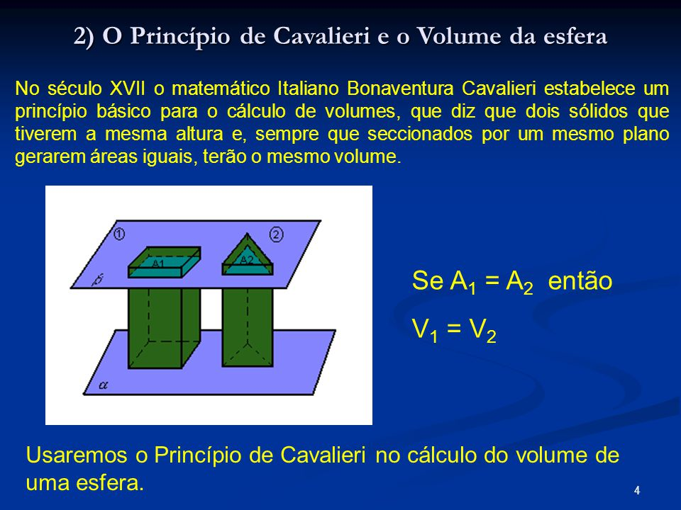 4 2) O Princípio de Cavalieri e o Volume da esfera No século XVII o matemático Italiano Bonaventura Cavalieri estabelece um princípio básico para o cá