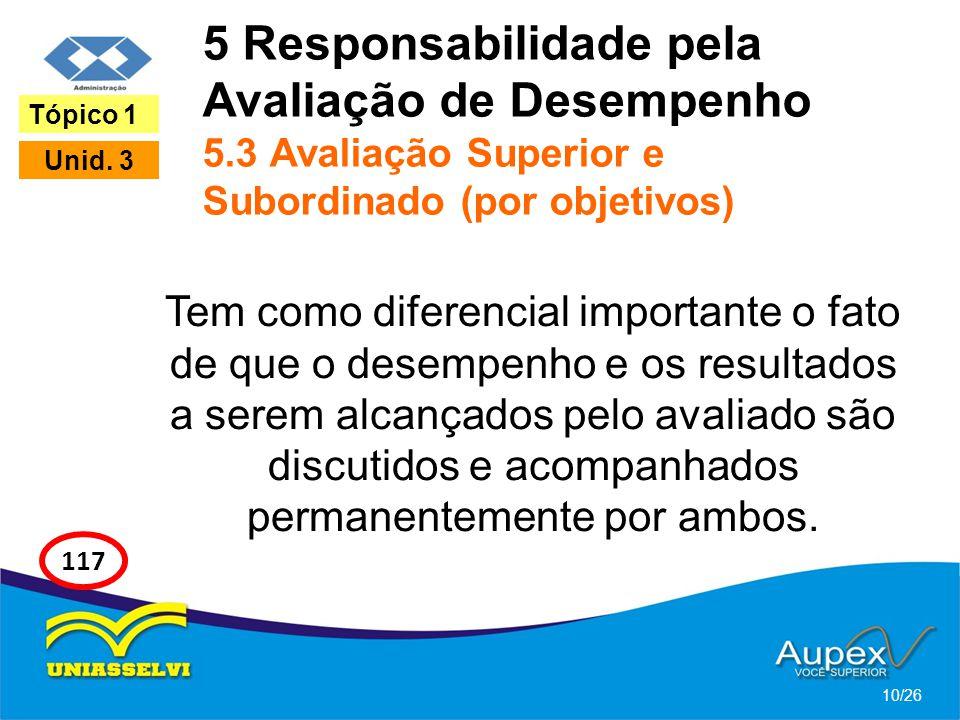 5 Responsabilidade pela Avaliação de Desempenho 5.3 Avaliação Superior e Subordinado (por objetivos) Tem como diferencial importante o fato de que o d
