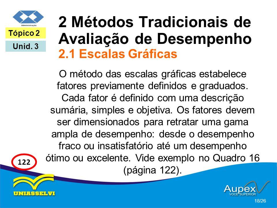 2 Métodos Tradicionais de Avaliação de Desempenho 2.1 Escalas Gráficas O método das escalas gráficas estabelece fatores previamente definidos e gradua