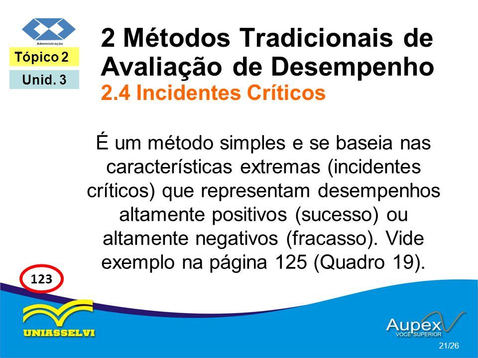 2 Métodos Tradicionais de Avaliação de Desempenho 2.4 Incidentes Críticos É um método simples e se baseia nas características extremas (incidentes crí