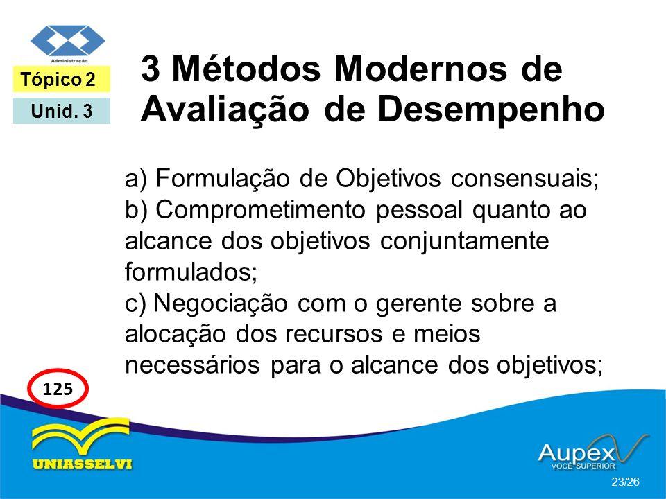 3 Métodos Modernos de Avaliação de Desempenho a) Formulação de Objetivos consensuais; b) Comprometimento pessoal quanto ao alcance dos objetivos conju
