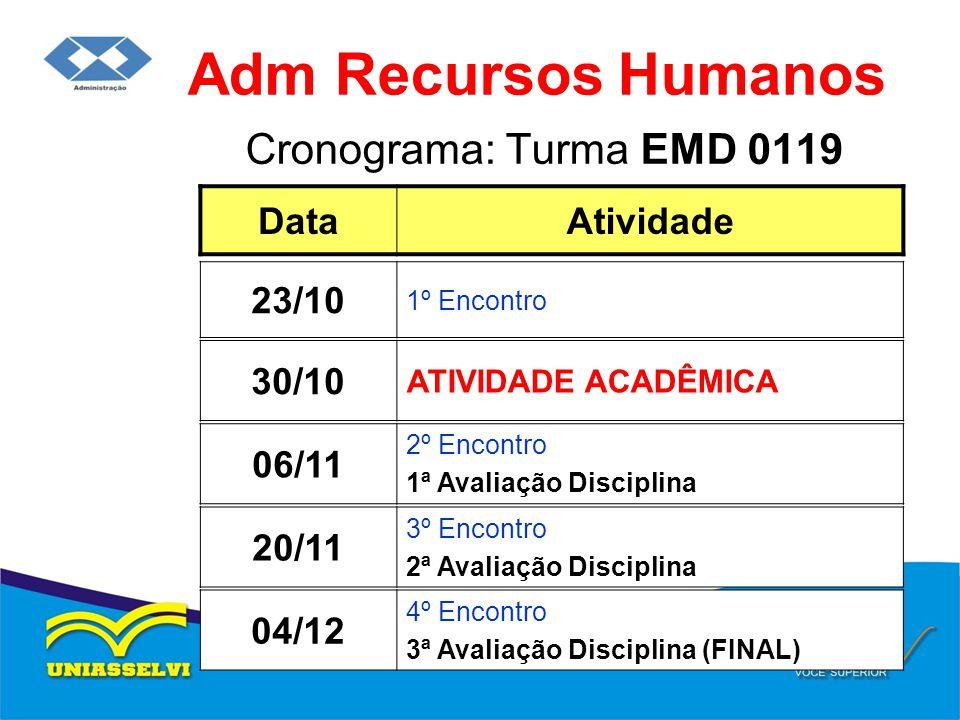 Cronograma: Turma EMD 0119 Adm Recursos Humanos DataAtividade 06/11 2º Encontro 1ª Avaliação Disciplina 23/10 1º Encontro 20/11 3º Encontro 2ª Avaliaç