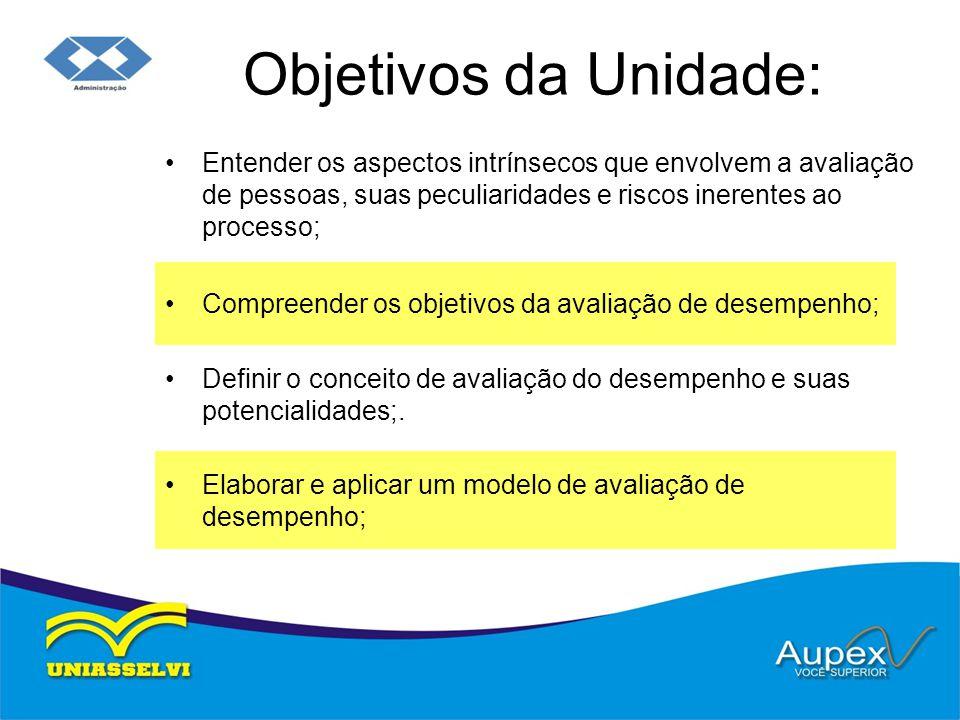 Objetivos da Unidade: Entender os aspectos intrínsecos que envolvem a avaliação de pessoas, suas peculiaridades e riscos inerentes ao processo; Compre