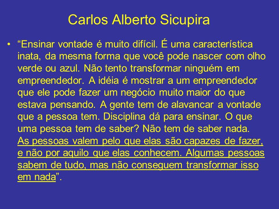 Carlos Alberto Sicupira Ensinar vontade é muito difícil. É uma característica inata, da mesma forma que você pode nascer com olho verde ou azul. Não t