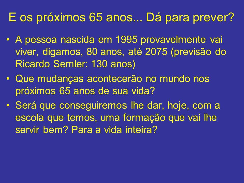E os próximos 65 anos... Dá para prever? A pessoa nascida em 1995 provavelmente vai viver, digamos, 80 anos, até 2075 (previsão do Ricardo Semler: 130