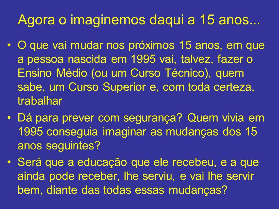 Agora o imaginemos daqui a 15 anos... O que vai mudar nos próximos 15 anos, em que a pessoa nascida em 1995 vai, talvez, fazer o Ensino Médio (ou um C