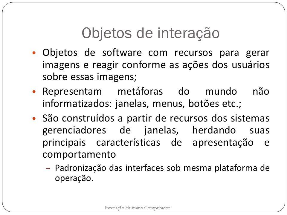 Objetos de interação Objetos de software com recursos para gerar imagens e reagir conforme as ações dos usuários sobre essas imagens; Representam metá