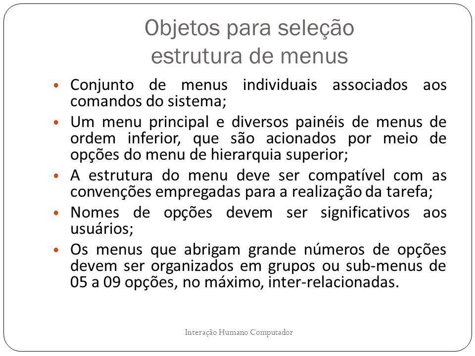 Objetos para seleção estrutura de menus Interação Humano Computador Conjunto de menus individuais associados aos comandos do sistema; Um menu principa