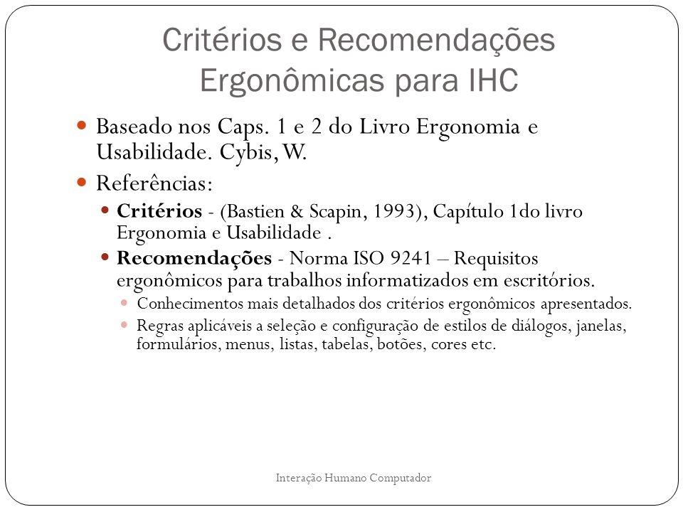 Critérios e Recomendações Ergonômicas para IHC Baseado nos Caps. 1 e 2 do Livro Ergonomia e Usabilidade. Cybis, W. Referências: Critérios - (Bastien &