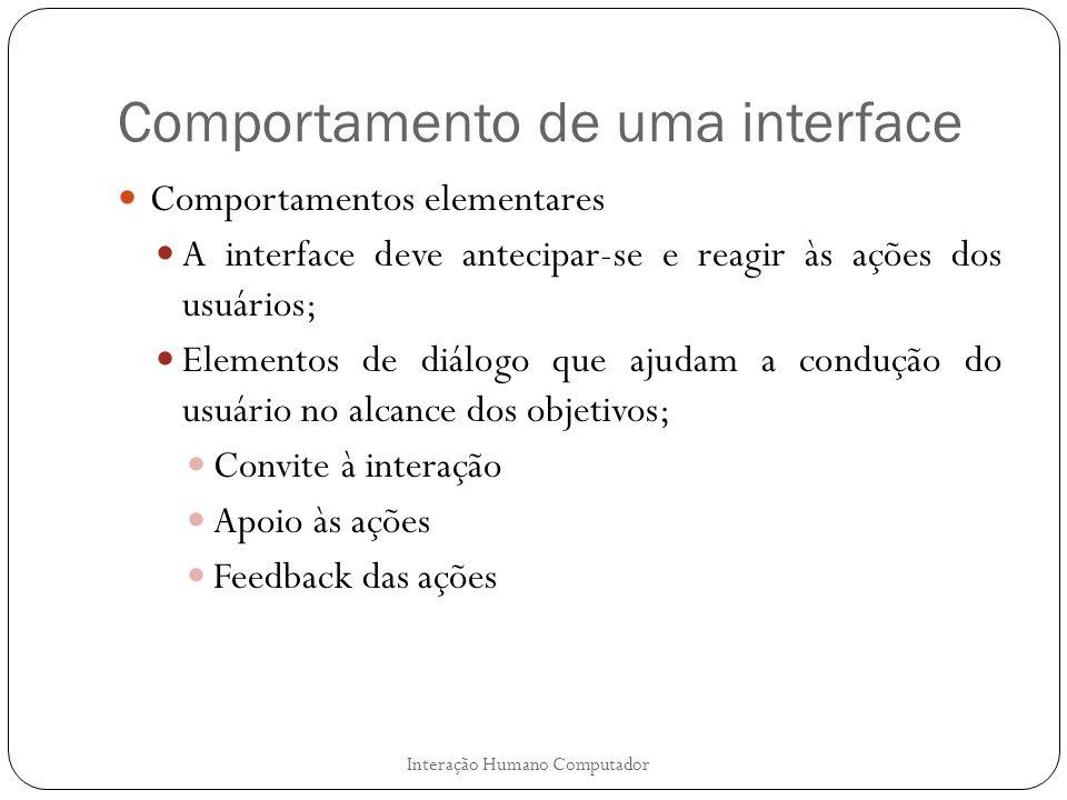 Comportamento de uma interface Comportamentos elementares A interface deve antecipar-se e reagir às ações dos usuários; Elementos de diálogo que ajuda