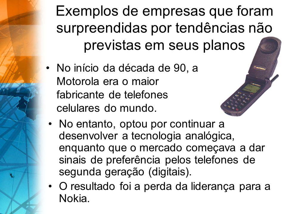 Exemplos de empresas que foram surpreendidas por tendências não previstas em seus planos No início da década de 90, a Motorola era o maior fabricante de telefones celulares do mundo.