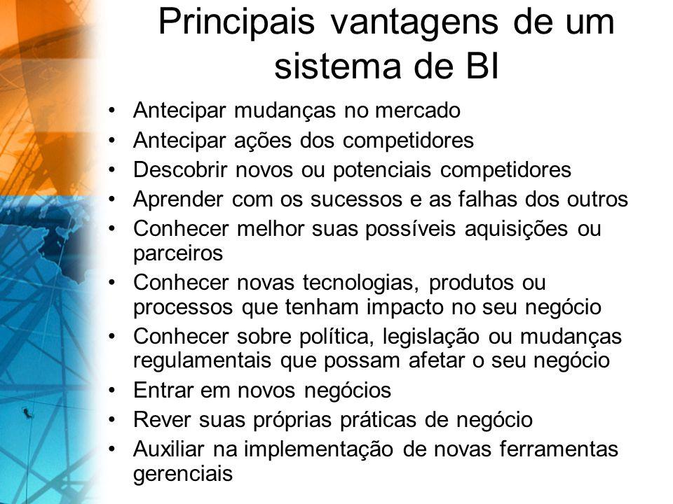 Principais vantagens de um sistema de BI Antecipar mudanças no mercado Antecipar ações dos competidores Descobrir novos ou potenciais competidores Apr