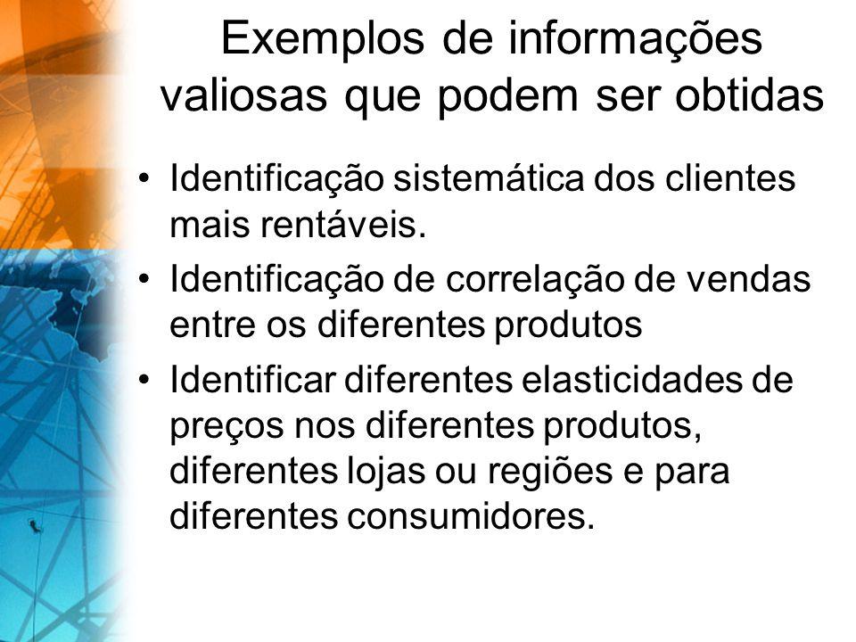 Exemplos de informações valiosas que podem ser obtidas Identificação sistemática dos clientes mais rentáveis. Identificação de correlação de vendas en