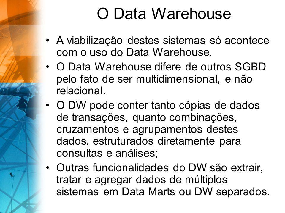 O Data Warehouse A viabilização destes sistemas só acontece com o uso do Data Warehouse. O Data Warehouse difere de outros SGBD pelo fato de ser multi