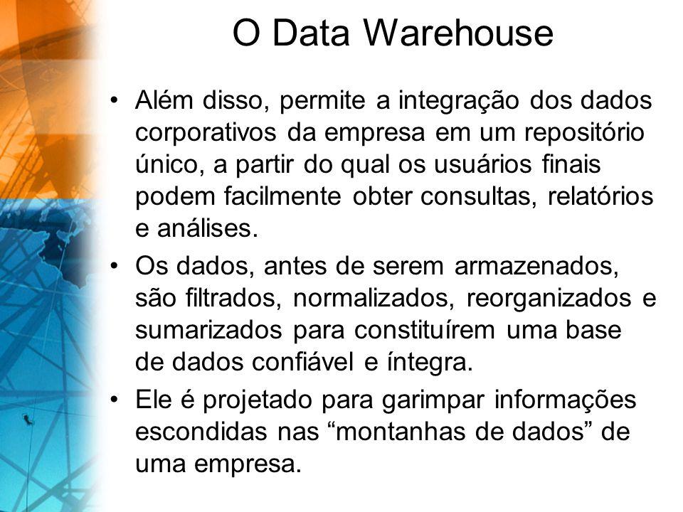 O Data Warehouse Além disso, permite a integração dos dados corporativos da empresa em um repositório único, a partir do qual os usuários finais podem facilmente obter consultas, relatórios e análises.