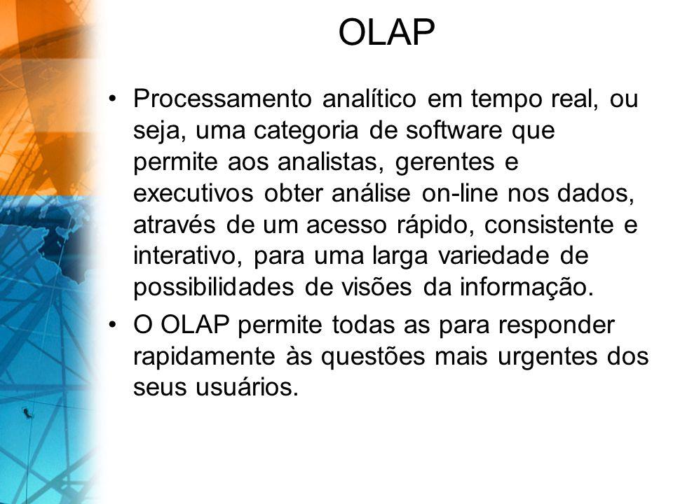 OLAP Processamento analítico em tempo real, ou seja, uma categoria de software que permite aos analistas, gerentes e executivos obter análise on-line nos dados, através de um acesso rápido, consistente e interativo, para uma larga variedade de possibilidades de visões da informação.