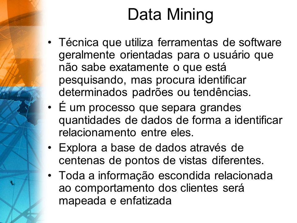 Data Mining Técnica que utiliza ferramentas de software geralmente orientadas para o usuário que não sabe exatamente o que está pesquisando, mas procura identificar determinados padrões ou tendências.