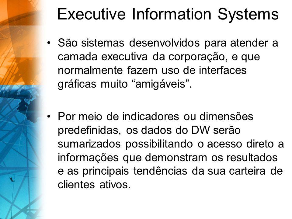 Executive Information Systems São sistemas desenvolvidos para atender a camada executiva da corporação, e que normalmente fazem uso de interfaces gráf