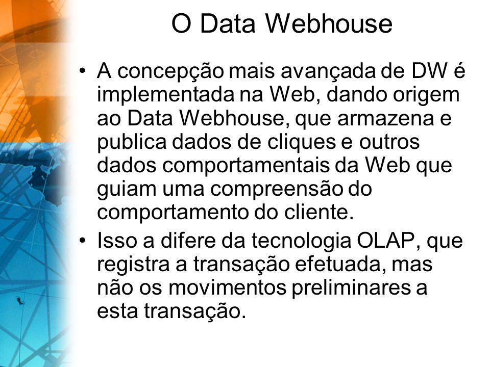 O Data Webhouse A concepção mais avançada de DW é implementada na Web, dando origem ao Data Webhouse, que armazena e publica dados de cliques e outros dados comportamentais da Web que guiam uma compreensão do comportamento do cliente.