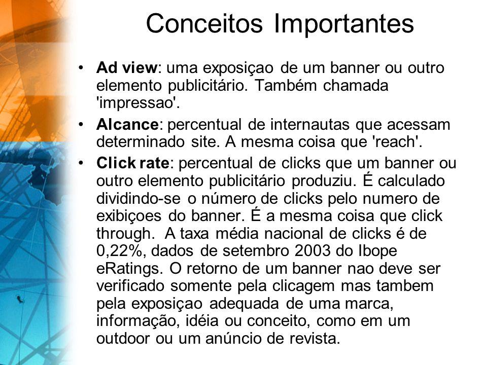 Conceitos Importantes Ad view: uma exposiçao de um banner ou outro elemento publicitário. Também chamada 'impressao'. Alcance: percentual de internaut