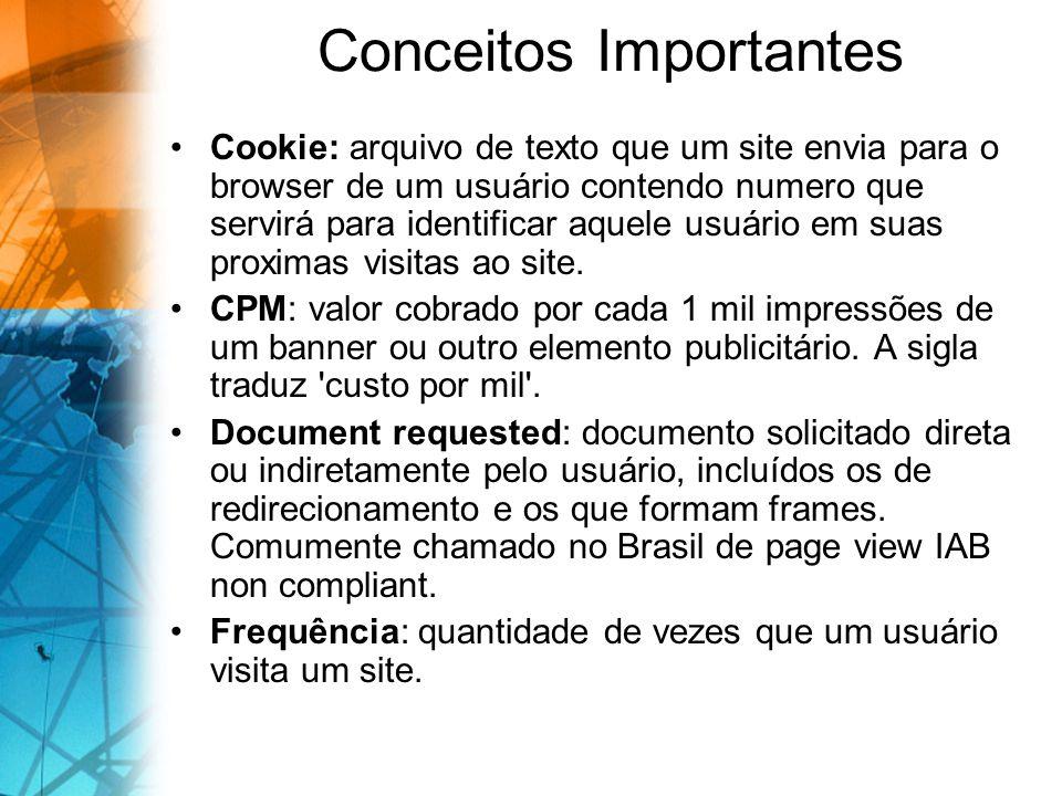 Conceitos Importantes Cookie: arquivo de texto que um site envia para o browser de um usuário contendo numero que servirá para identificar aquele usuário em suas proximas visitas ao site.