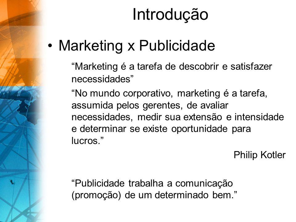 Introdução Marketing x Publicidade Marketing é a tarefa de descobrir e satisfazer necessidades No mundo corporativo, marketing é a tarefa, assumida pe