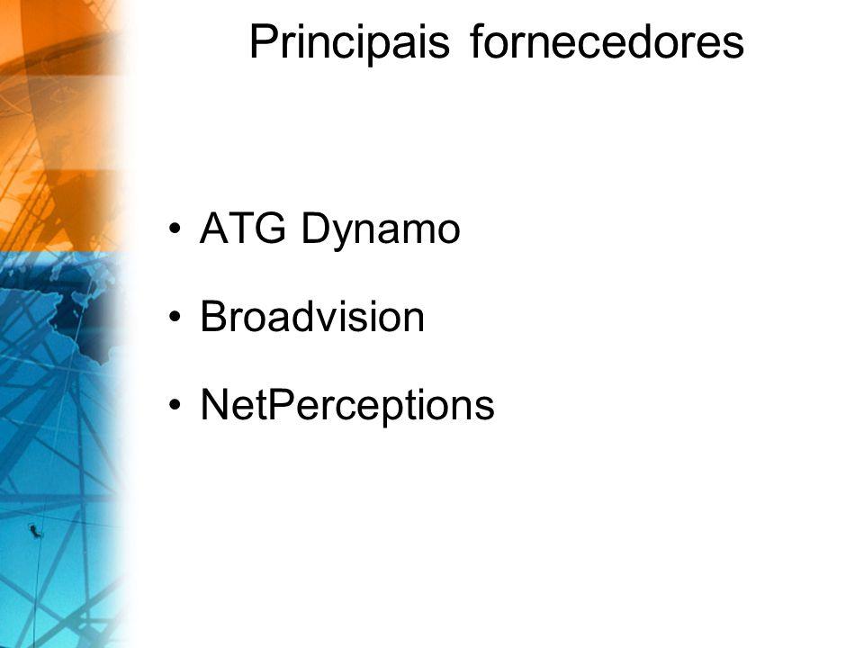 Principais fornecedores ATG Dynamo Broadvision NetPerceptions