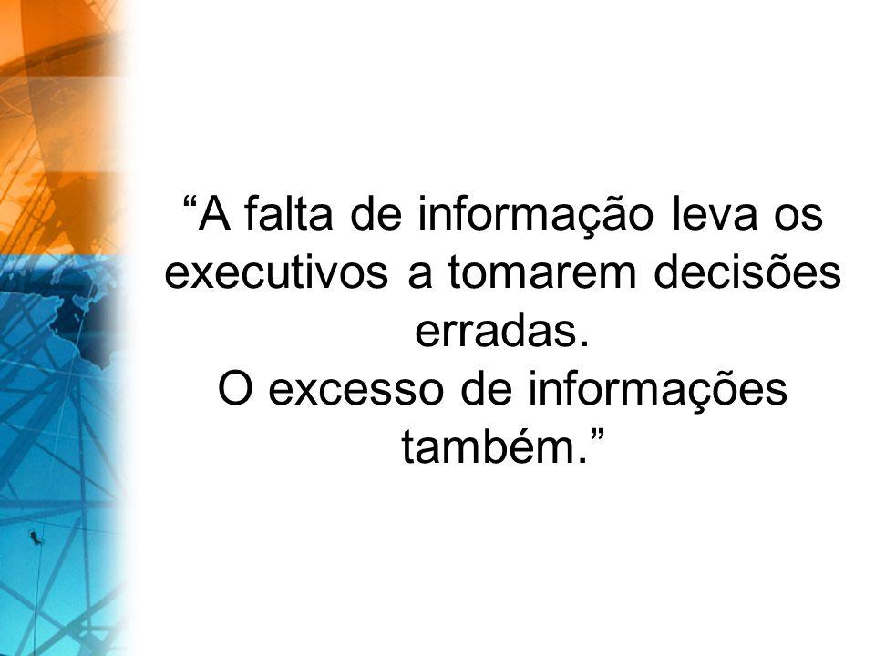 A falta de informação leva os executivos a tomarem decisões erradas. O excesso de informações também.