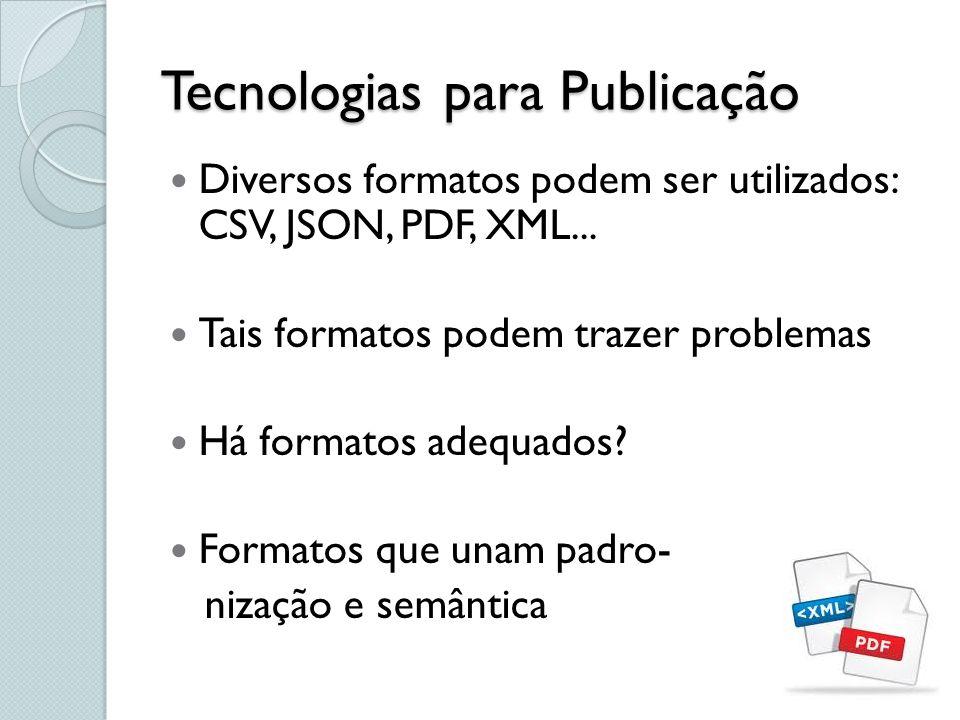 Tecnologias para Publicação Diversos formatos podem ser utilizados: CSV, JSON, PDF, XML... Tais formatos podem trazer problemas Há formatos adequados?
