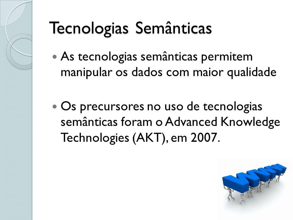 Tecnologias Semânticas Resource Description Framework – RDF É o padrão no qual a informação governamental deve ser disponibilizada, de acordo com os princípios do Linked Data (VILLAZÓN-TERRAZAS, 2011).