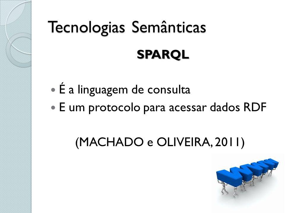 Tecnologias Semânticas SPARQL É a linguagem de consulta E um protocolo para acessar dados RDF (MACHADO e OLIVEIRA, 2011)