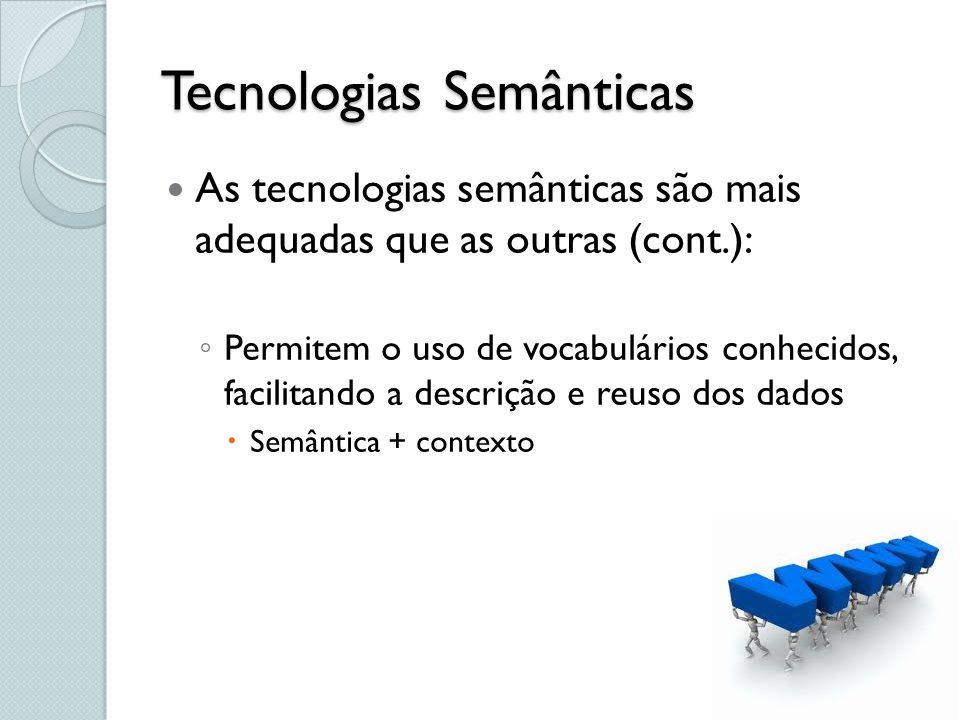 Tecnologias Semânticas As tecnologias semânticas são mais adequadas que as outras (cont.): Permitem o uso de vocabulários conhecidos, facilitando a de