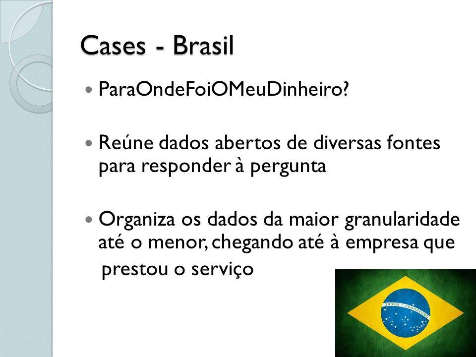 Cases - Brasil ParaOndeFoiOMeuDinheiro? Reúne dados abertos de diversas fontes para responder à pergunta Organiza os dados da maior granularidade até