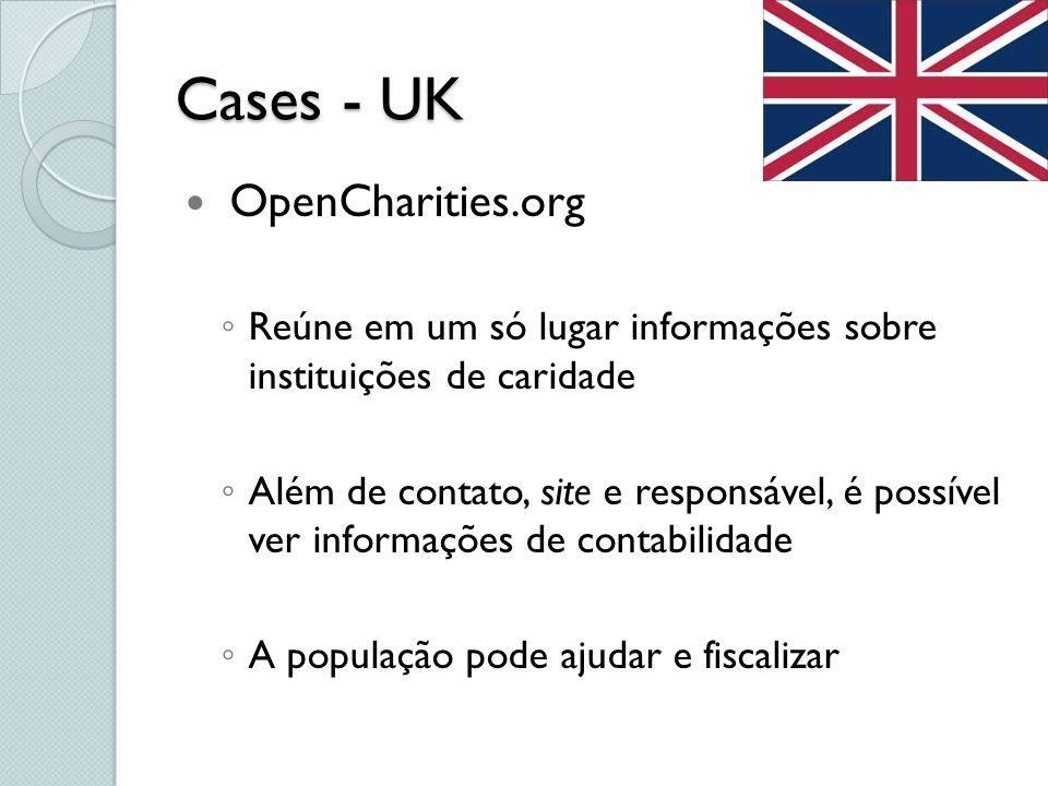 Cases - UK OpenCharities.org Reúne em um só lugar informações sobre instituições de caridade Além de contato, site e responsável, é possível ver infor