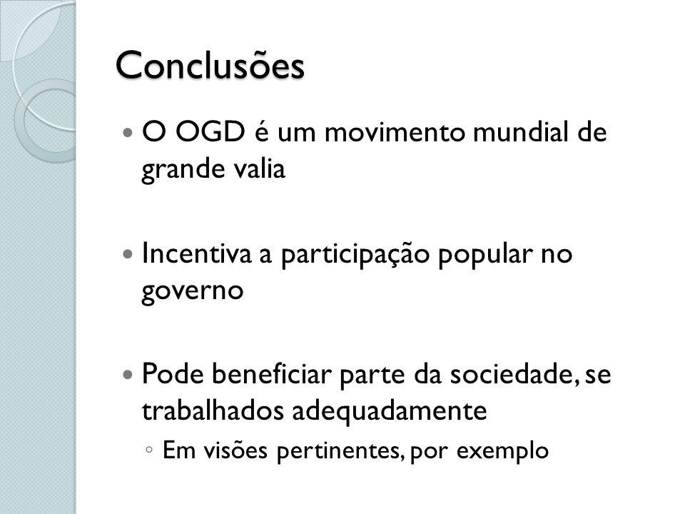 Conclusões O OGD é um movimento mundial de grande valia Incentiva a participação popular no governo Pode beneficiar parte da sociedade, se trabalhados